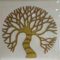 金色树图案门芯玻璃贴片工厂直销