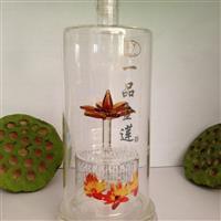 一品金莲酒瓶内置莲花造型玻璃酒瓶空心莲花酒瓶