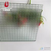 6.8高透方形格夹铁丝玻璃 防砸玻璃