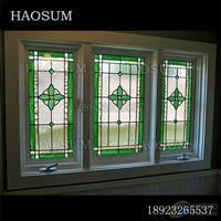 别墅装饰彩色玻璃窗 会所彩色玻璃定制