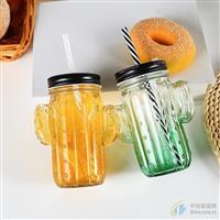 新款仙人掌玻璃杯果汁饮料瓶牛奶杯带盖吸管