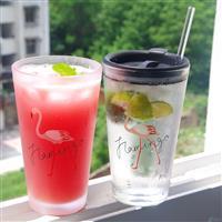 创意玻璃水杯吸管带盖大容量冷饮饮料杯