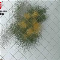 广东广州10mm香梨压花夹铁丝玻璃 门窗铁丝网玻璃