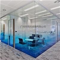 磨砂渐变玻璃供应 蓝色渐变玻璃 办公隔断渐变玻璃