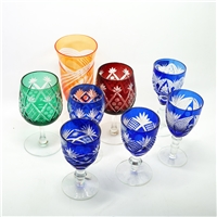 日式切子玻璃杯高脚杯手工雕刻葡萄酒杯鸡尾酒杯