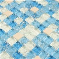 水晶玻璃冰裂马赛克  游泳池浴室卫生间专用