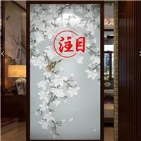 厂家定制中式山水画夹丝艺术玻璃隔断玻璃夹绢画