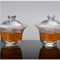 无铅透明螺旋纹盖碗美璃玻璃茶具