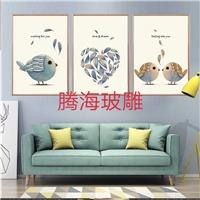 现代简约客厅装饰画冰晶画玻璃画