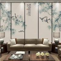 新中式竹子花鸟雕刻玻璃电视背景墙