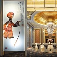 中国风皮影隔断屏风玻璃雕刻背景墙