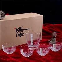 美璃日式描金水晶樱花玻璃茶具套装