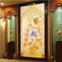 厂家直销艺术玻璃大年夜贫贱进门走廊玄关背景墙