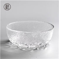 美璃日式手工锤纹玻璃莲花茶洗
