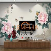 供应富贵图案AG玻璃写真背景墙