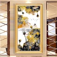 中式水墨莲花图AG写真玻璃进门玄关背景墙 量大优惠