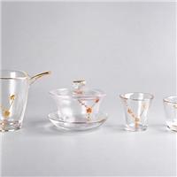 日式描金梅花玻璃茶具套装