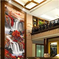 中式山水写真玄关画钢化玻璃背景墙