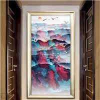 抽象新中式山水写真玄关画钢化玻璃装饰画