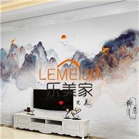 新中式山水背景墙写真钢化玻璃玻璃影视墙