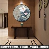 圆形壁画中式圆点5D画新中式晶瓷画