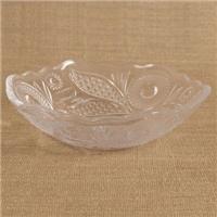 玻璃瓶厂家供应雕刻玻璃盘子,出口玻璃盘子