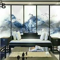 广州卓越夹画玻璃山水水墨夹胶玻璃特种玻璃