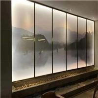 夹山水画玻璃 园林山水画玻璃 屏风夹画玻璃