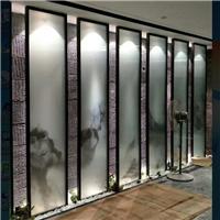 夹山水画玻璃 夹抽象画玻璃  夹绢丝布玻璃