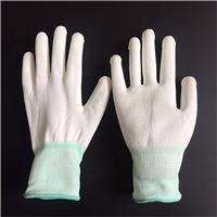 白色PU涂掌手套 防静电手套 十三针尼龙挂胶手套批