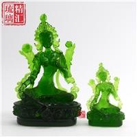 广州琉璃绿度母佛像厂家 广州琉璃佛像工厂 琉璃工艺品