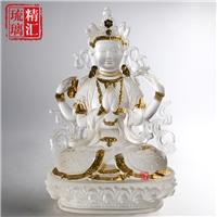 贴金鎏金琉璃佛像厂家 广州琉璃佛像 琉璃四臂观音菩萨