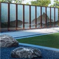 夹山水画玻璃 屏风  园林夹山水画玻璃