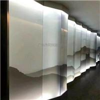 夹山水画玻璃 夹绢丝抽象画玻璃 屏风山水画玻璃