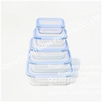 高硼硅透明长方形耐热玻璃保鲜盒 密封盖子