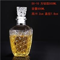 高檔透明玻璃紅酒瓶方形酒瓶家用空酒瓶洋酒瓶