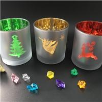 圣诞节玻璃工艺品玻璃烛台直筒型蜡烛玻璃杯厂家现货