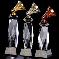 企业员工羽毛球比赛冠军奖杯,金属配件特制水晶奖杯