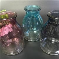 小口玻璃花瓶大肚玻璃花瓶渐变花瓶办公水培插花插花瓶