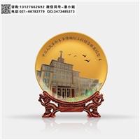 地標建設周年紀念品 博物館大樓竣工禮品  玻璃彩雕盤