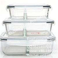 欧森厂家直销 两隔断微波炉用耐热玻璃保鲜盒