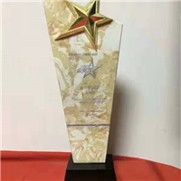 大理石五星冠军奖杯,销售团队金星水晶奖杯直销