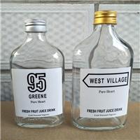 玻璃瓶新款玻璃扁酒瓶网红果汁饮料瓶铝盖密封瓶