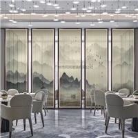 背景墙玻璃 夹山水画玻璃 售楼部山水画玻璃