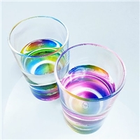 七彩透明玻璃情侣杯