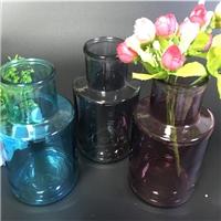 玻璃花瓶水培彩色工藝花瓶家用客廳擺件臺面插花花瓶