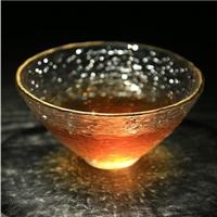 水晶玻璃茶具锤目纹功夫茶杯 金边斗笠杯