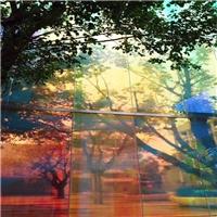 魔幻炫彩镀膜玻璃 多彩可选旋转变化的镀膜钢化玻璃厂