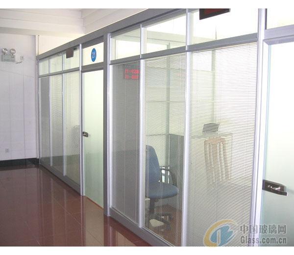 郑州办公室玻璃隔断-电动百叶隔