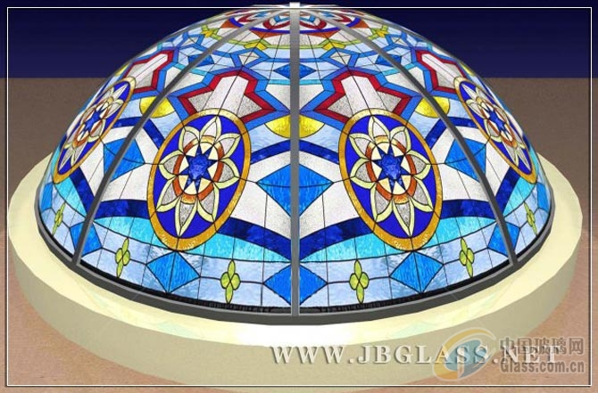 加工彩色镶嵌玻璃教堂玻璃穹顶